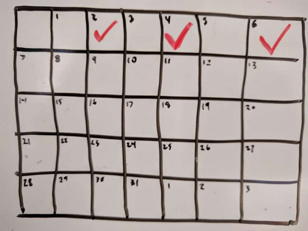 Weight Training for ultimate frisbee players tracked on a calendar
